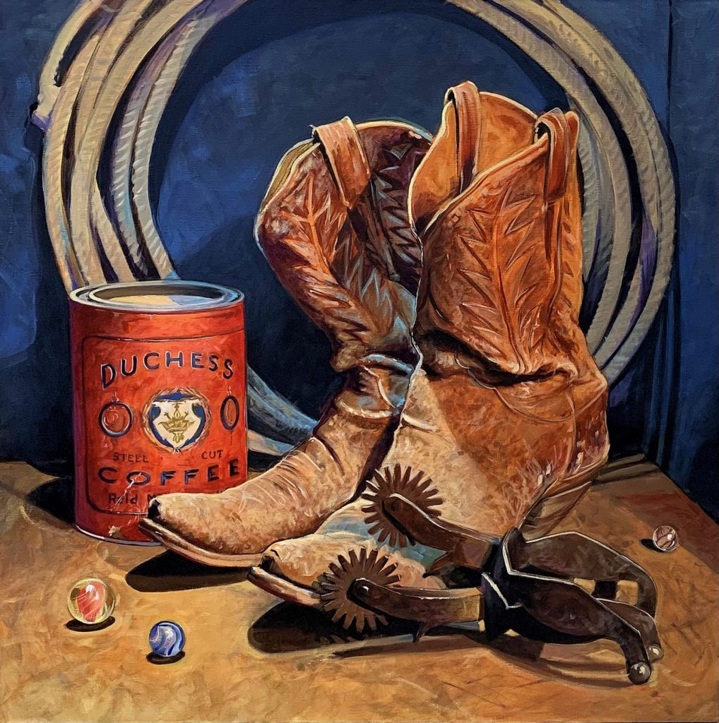 This image has an empty alt attribute; its file name is DAVID_DORSEY-BOOTS_AND_COFFEE-ACRYLIC-30X30-2500-SAND_PAINTERS_ART_CLUB-1-1018x1024.jpg